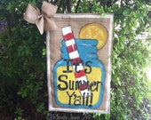 Lemonade It's Summer Y'all Country Mason Jar Burlap Garden Flag Outdoor Decoration