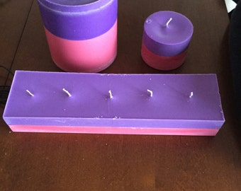 Purple and pink soy candles