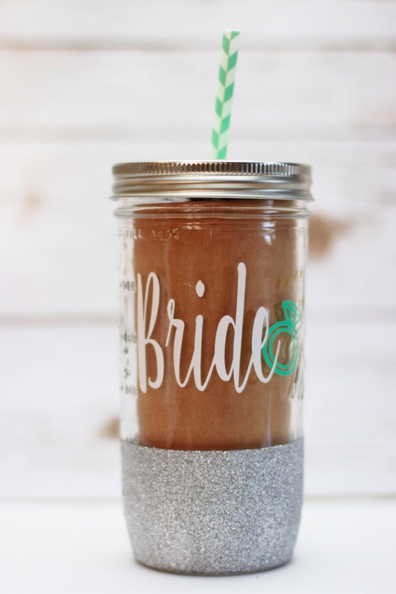 Bride 20oz Glitter Dipped Mason Jar Tumbler Or 16oz Travel