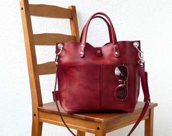 Leather bag, Leather bag red, Leather bag women, small leather shopper, handbag, small leather shopping bag, Lou Frontpocket - red!