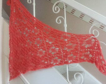crochet shawl in coral