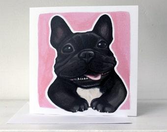 Black & White French Bulldog (Frenchie) Card - Pink