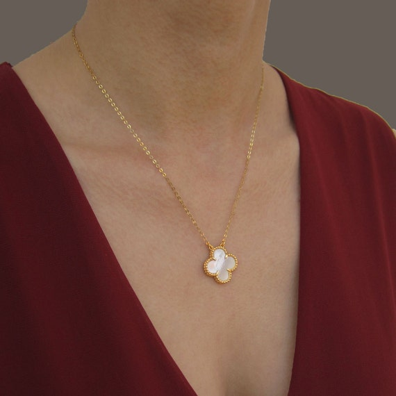 Van Cleef Clover Necklace: Clover Necklace 4 Leaf Clover Necklace 14K By VasiaAccessories