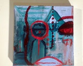 Small Portrait Art, Modern Acrylic Painting Contemporary Abstract Art Portrait Art Teal Red Face Small Painting Affordable Art Ready to Hang