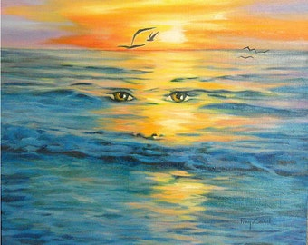 """Marine Painting """"Meditation""""  oil painting on canvas  without frame  55x44cm"""