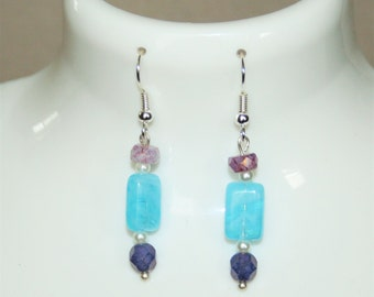 Jewelry $ 15 and less: silver color with blue, lilac and purple glass beads dangling earrings