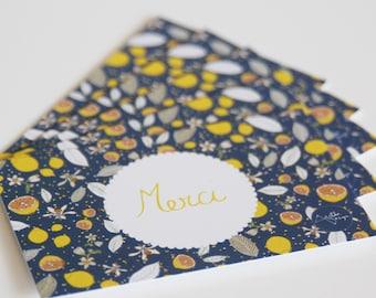 "10 mini-cards ""Merci"" lemons with blue, yellow flowers"