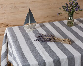"Striped Linen tablecloth in Grey and White color-Modern tablecloth-Dining tablecloth-Width 59""x Custom length ."