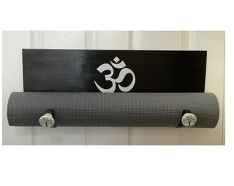 Yoga mat holder, handmade black yoga mat holder, yoga accessories, namaste yoga mat holder, wooden yoga mat holder, yoga accessories, yoga