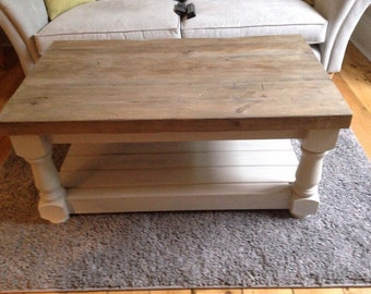 Rustic coffee table with thick reclaimed wood top and lower shelf. Made to measure Painted farmhouse tv unit, chunky carved legs shabby chic
