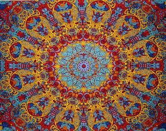 Incredible (Sunburst Design) Handmade 3-D Tapestry/Bed Sheet/Beach Blanket/Project Fabric