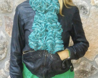 Green scarf with gold thread