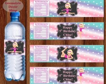 Water Bottle Labels Birthday Printable Gymnastics Tags Gymnastic Party Printable Teal Girl Pink Purple Aqua Party pink purple WLG4