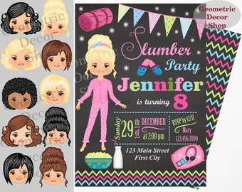 Sleepover Birthday Party Invitations Green Pink Chevron Slumber Invitation Sleep Over Invite Digital Glitter Pajama #BDSO1