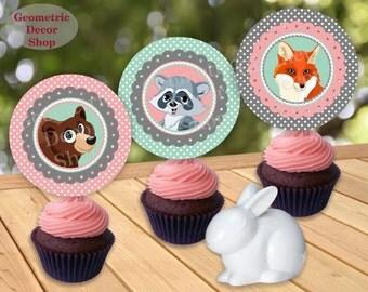 Girl Woodland Cupcake Toppers INSTANT DOWNLOAD Favor Tags Fox Birthday Decor Mint & Pink Digital Printable Green deer bear CTWDL1 // BP001