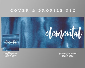 Timeline Cover + Profile Picture 'Elemental' Cover, Profile Picture, Branding, Web Banner, Blog Header | blue, navy cover image