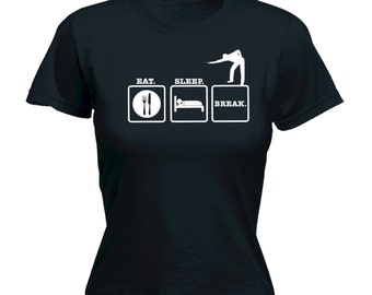 snooker design fitted t shirt t shirt top ladies slogan funny snooker tee pool cue billiards balls repeat