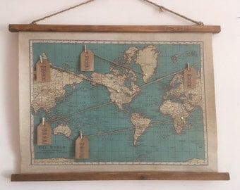 Vintage World Map Canvas Wedding Seating Plan With Pre Attached Cord For Hanging