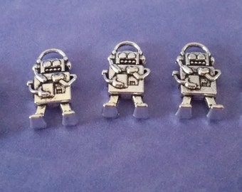 5 Antiqued Silver Robot Charm Pendants-Doctor Who Charm | 2179