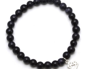 Blue Goldstone Beaded Bracelet with Sterling Silver Charm, Unique only 1 piece available! , color navy blue, #43758