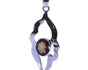 Smoky Quartz Pendant, 925 Sterling Silver, Unique only 1 piece available! color brown, weight 4.7g, #34437