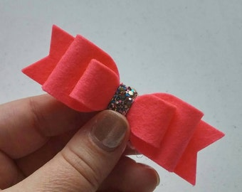 Bright Coral · Standard Felt Bow {Multiple Headband or Clip Options} - Made from 100% Merino Wool Felt - Hair Accessories