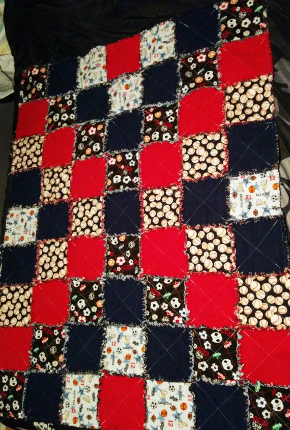 Sports Themed Quilt Patterns : Sports Themed Rag Quilt Bedroom Decor Soccer Baseball