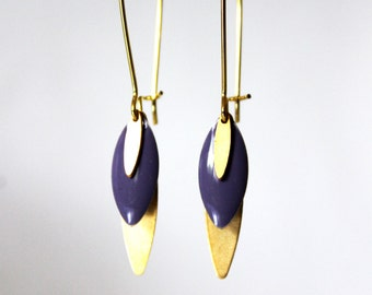 Long purple enamelled sequin earrings
