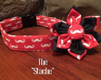 Dog Collar, Mustache dog collar, Red dog collar, Mustache Flower, Mustache dog accessory, red mustache collar, Collar flower