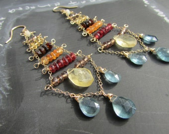 Canyon Trapeze Gemstone Chandelier Earrings