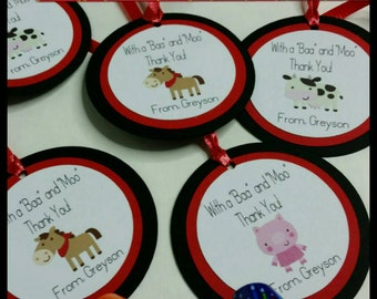 12 Barn/Farm Party Favor Tags w/ cello Bags, Barnyard Favors, Farm Animal Favors