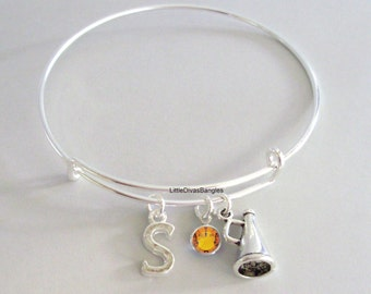 Megaphone Bangle Bracelet  W/ A Birthstone - Initial  Under Twenty / Cheerleaders Charm Bangle Gift  For Her USA  SC1