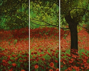 RED POPPIES | LARGE Triptych Painting on Canvas | Original Oil Floral Painting | Flowers Painting Landscape | Nature Art | classic art