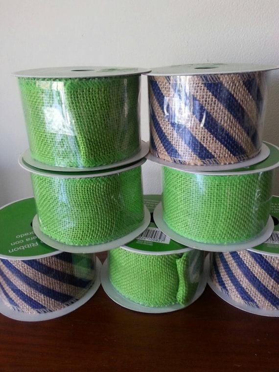 Wired burlap ribbon green navy blue striped 100 jute for Green burlap ribbon