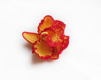 Cymbidium Orchid Brooch