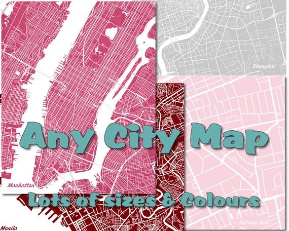 custom street map print custom map of any city custom map