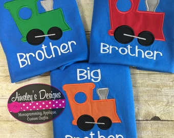 Big brother , little brother train shirts! Can be personalized! Sibling set!
