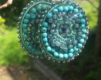 Crochet Earrings Turquoise Big Earrings Beaded Jewelry Statement Jewelry Statement Jewellery