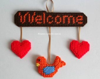 Bird door decor,bird,wall decor,wall hanging,welcome sign,door hanger,door sign,plastic canvas,red hearts