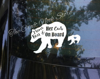 Mama Bear and Her Cub(s) On Board(car decal)