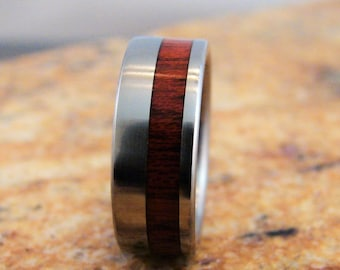 Bloodwood, titanium ring, titanium and wood rings, titanium, wood inlay, titanium wood inlay, exotic hardwood, wedding bands, wedding rings