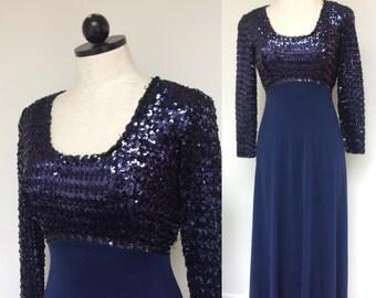 1970s Disco Dress! Size Small. 70s Sequin Evening Dress. 70s Ladies Disco. Saturday Night Fever. Blue Sequin Disco Dress.  Very Studio 54!