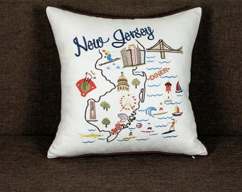 New Jersey State Embroidered Pillow/Cushion Cover