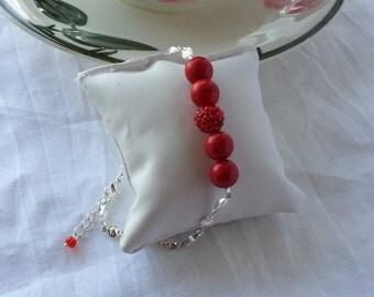 Red gemstone bead bracelet, sterling silver bracelet,925 silver,delicate bracelet,Gifts,Easter,Birthday gift,Casual bracelet,charm bracelet