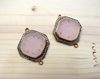2 Pieces Rose Quartz Hand Carved Rhinestone Sterling Silver Bezel Connectors, Matched Pairs, Gemstone Connectors, SKU-CC3