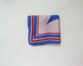 Silk scarf geometric pattern, arrows, 60s 70s