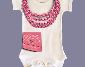 """Girl's Short Sleeve Onesie - """"Pearls and Purse"""""""""""