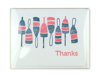 Thanks Letterpress Box Set of 5 Cards  // Buoys // Thank You // Nautical // Maritimes