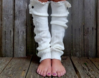 Cream cozy lux leg warmer, button up, fall layers, lounge, yoga, dancer, bestselling accessory, Pink Arrows Boutique