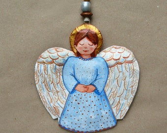 Papier mache, Painted Angel, paper angel ornament, Christmas ornament, hand painted paper mâché, hand painted angel, paper angel